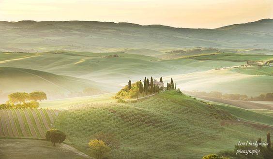 Morning Belvedere, Tuscany  Not long after sunrise Podere Belvedere, alittle gentle mist as backdrop……