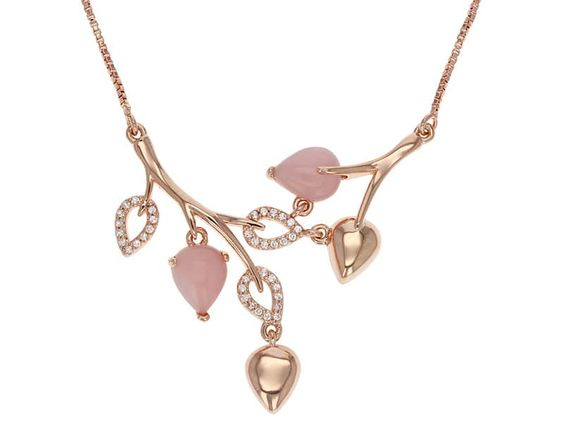 Timna Jewelry Collection(Tm) Pear Shape Peruvian Pink Opal With .21ctw White Topaz Copper Necklace