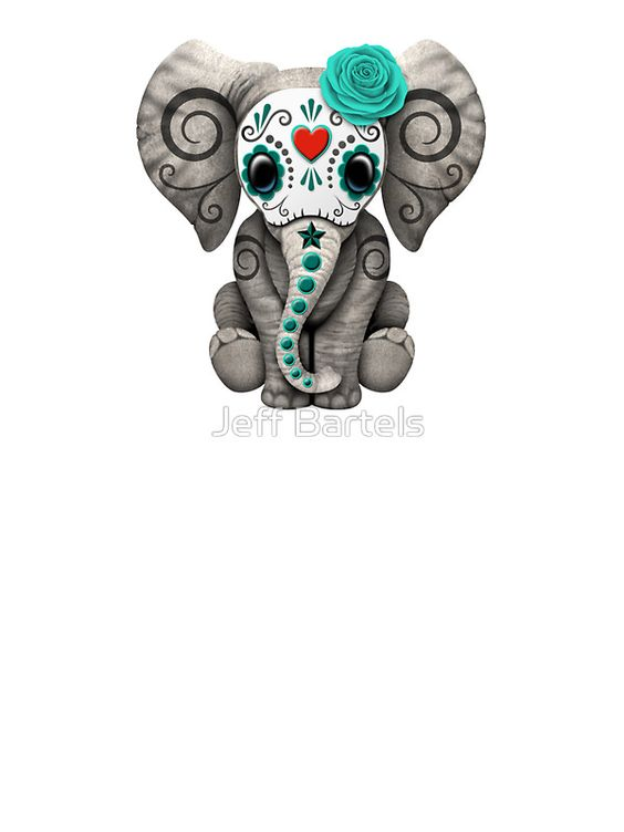 Teal Blue Day of the Dead Sugar Skull Baby Elephant ...