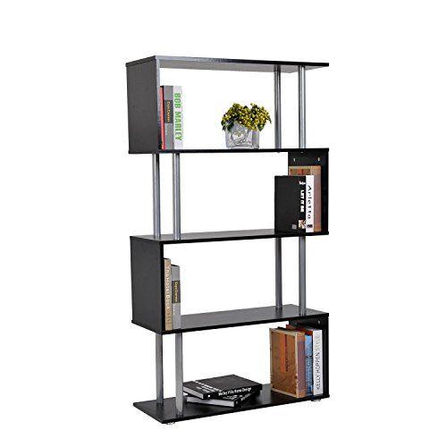 Display Bookcase Modern Shelving Wood Unit Cabinet 4 Shelves Black Storage Rack