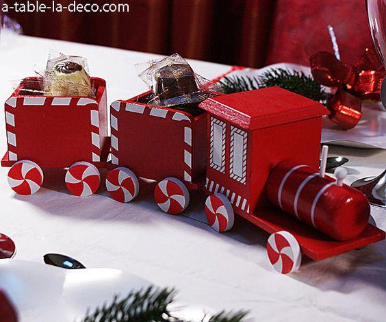 Petit train de Noël - pour présenter vos chocolats sur votre table ...