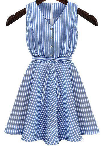 gestreifte Kleid mit Gürtel V-Ausschnitt-blau - Sleeve- Picnics ...