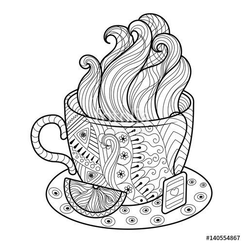 Zentangle Coffee Tea Cup Coloring Page Coloring Books Colorful