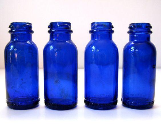 Vintage cobalt blue glass bromo seltzer bottles for Small colored glass jars
