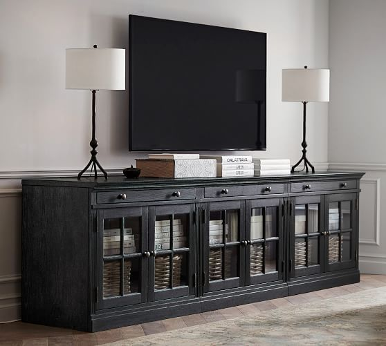 Livingston Large Tv Stand With Glass Doors Gray Wash Pottery Barn Tv Stand With Glass Doors Large Tv Stands Glass Cabinet Doors Tv stands with glass doors