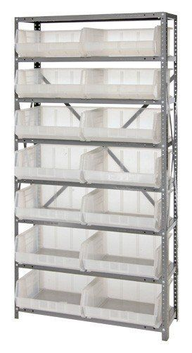 Steel Storage System 12 x 36 x 75, 8 Shelves, 14 QUS250CL CLEAR Bins 15 x 17 by Quantum. $592.05. . These economical high density bin storage systems include heavy-duty giant stack bins with open hopper fronts for easy access. Optional clear windows maximize capacity, prevent spillage and convert the bin to a true tote. Optional dividers keep contents organized. Heavy-duty, high grade shelving with 400 lb. load capacity per shelf12'' x 36'' x 75'' Steel Shelving Unit with 14 QUS...