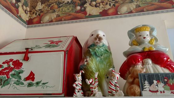 Goldilocks Cookie Jar, Candy Cane Kids, Morning Glory Bread Box, and Rabbit statue.