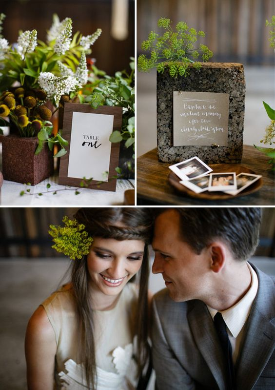 Eco friendly wedding colors: brown and green. Cute wedding design and ideas.