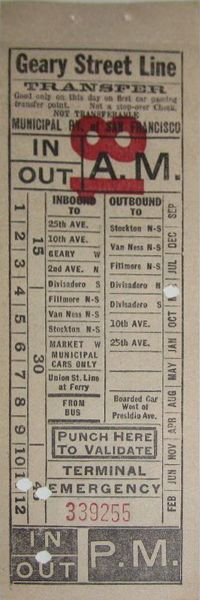 Front of transfer from Municipal Railway of San Francisco (California) (date unknown; probably 1930s)