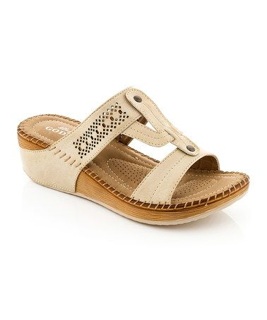 Another great find on #zulily! Beige T-Strap Sandal by Lady Godiva #zulilyfinds