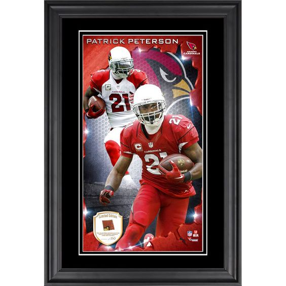 Patrick Peterson Arizona Cardinals Fanatics Authentic Vertical Framed Photograph with Piece of Game-Used Football - Limited Edition of 250 - $79.99