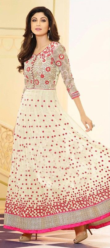 432916, Bollywood Salwar Kameez, Georgette, Thread, Lace, Machine Embroidery, White and Off White Color Family