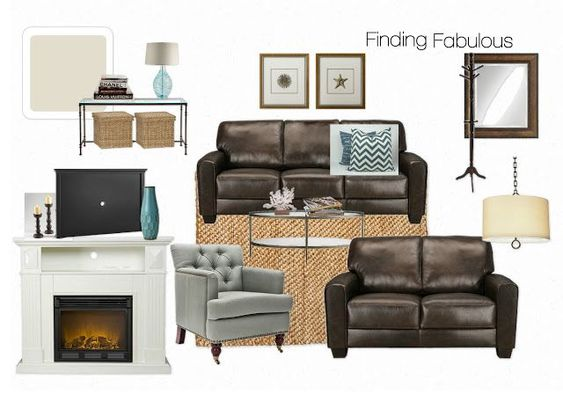 Finding Fabulous: Latest Mood Board Design..for brown leather sofa. Love the rug... - #board #brown #design #fabulous #finding #latest #leather - #Genel
