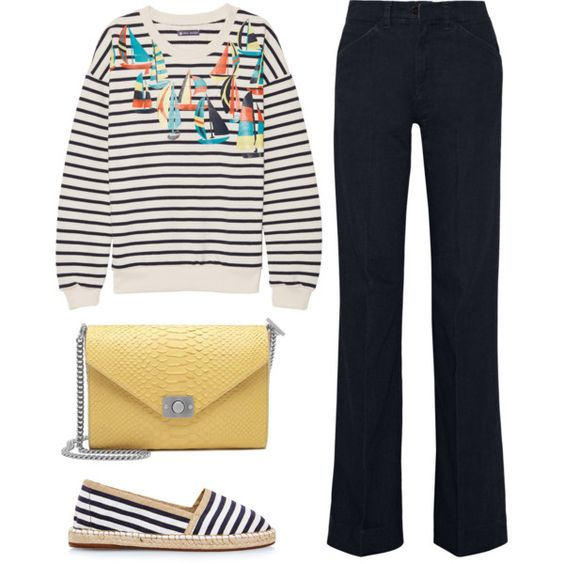 Summer stripes by fridaeklof on Polyvore featuring Petit Bateau, dVb Victoria Beckham and Mulberry
