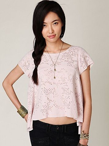 Free People Short Sleeve High Low Cutout Top at Free People Clothing Boutique - StyleSays