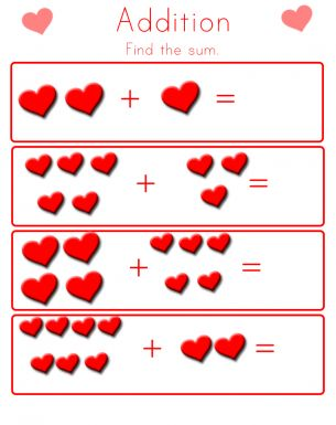 Valentines Addition Worksheet  Free Printable Worksheets
