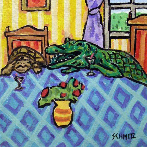 TURTLE gator toast wine ceramic animal art tile coaster