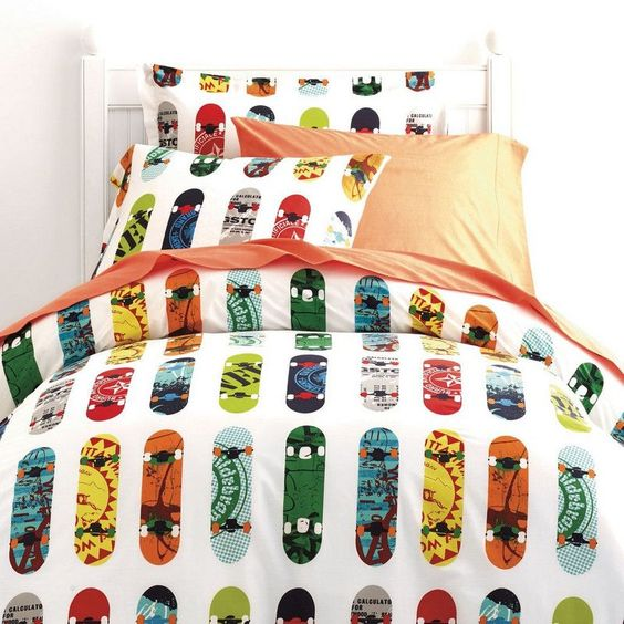 Skateboard Percale Bedding - Fun skateboards in bold colors give this kids' bedding its cool factor. Made from smooth, 200-thread count percale, our Skateboard Percale Sheets offer kid-friendly style and comfort, year-round.