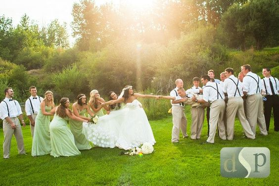 Fun bridesmaid and groomsmen picture: