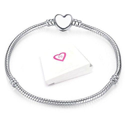Cheap Pandora Style Bracelet With Heart Clasp