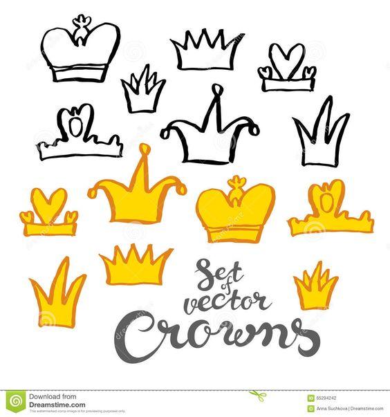 Coronas Del Dibujo De La Mano Ilustración del Vector - Imagen: 65294242