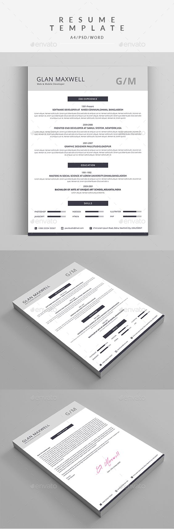 the world s catalog of ideas resume resumes stationery here graphicriver net