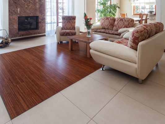 Tile And Wood Floor Combination With