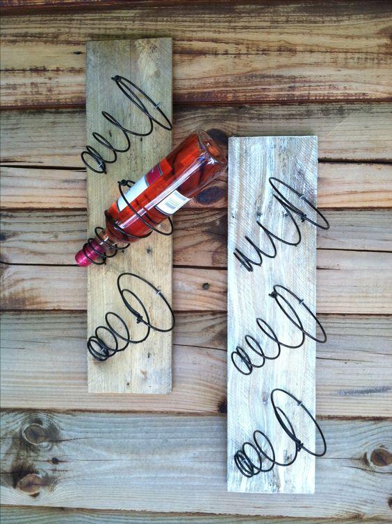 Wine racks made from bed springs and reclaimed pallet wood http://www.creekwalkerart.com