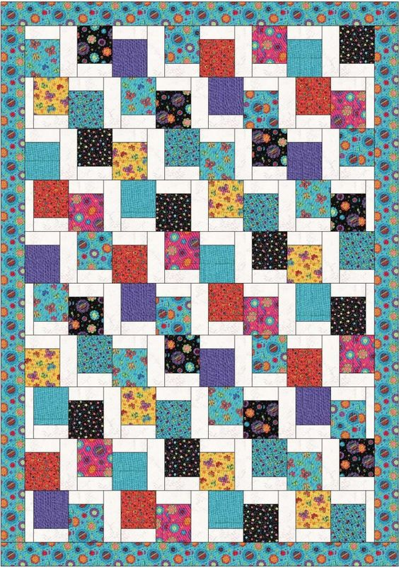 Very cute and easy 'Tumbling Charms' - free quilt pattern - needs 2 charms squares and some jelly roll strips for the white bits and the border.: