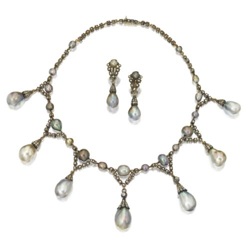Silver-Topped Gold, Natural Pearl and Diamond Necklace and Earclips, Last Quarter 19th Century   lot   Sotheby's