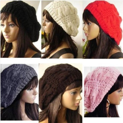 New Chic Warm Winter Women Beret Braided Baggy Knit Crochet Beanie Hat Ski Cap O