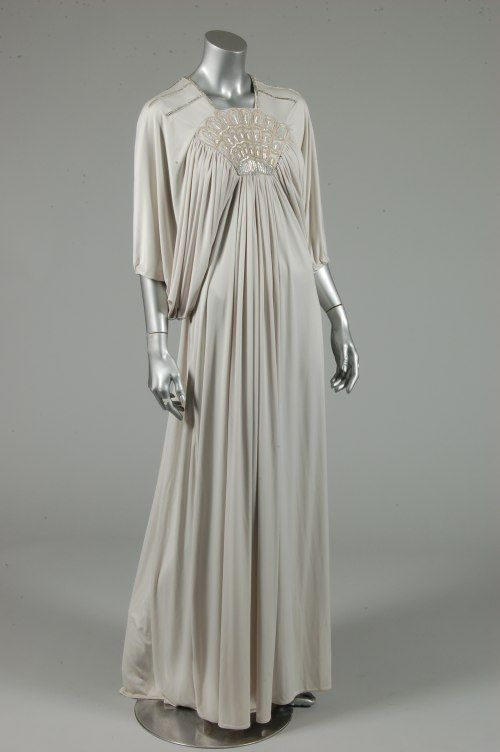 Bill Gibb grey Quiana jersey evening gown, Autumn-Winter, 1973, with…