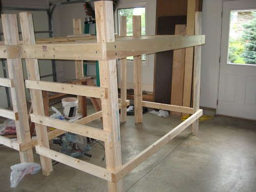 College bed loft twin xl hanging beds loft bed plans for Suspended bed plans