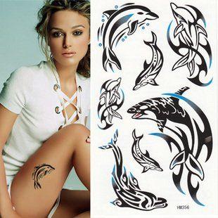 Encontrar Más Tatuajes Temporales Información acerca de Delfín negro tatuajes temporales, alta calidad tatuajes de la boda, China delfines de la lámpara Proveedores, barato arma del tatuaje fuente de alimentación de VVSELL.COM  en Aliexpress.com