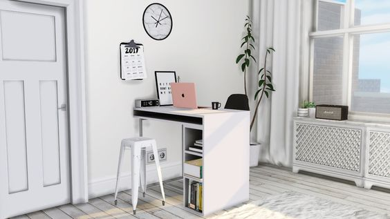 "• CB2 Public High Table/Desk • Small Black/White Prints • Digital Alarm Clock • Sarah R Bock Marble Wall Clock • Radiator Cover ( Says ""debug"" in game ) • Clipped Calendar • Curio Barstool..."