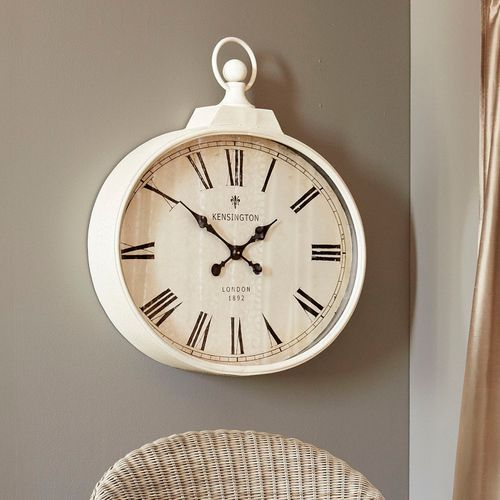 Ivory Antiqued Wall Clock Small Wall Clock Wall Clock Vintage