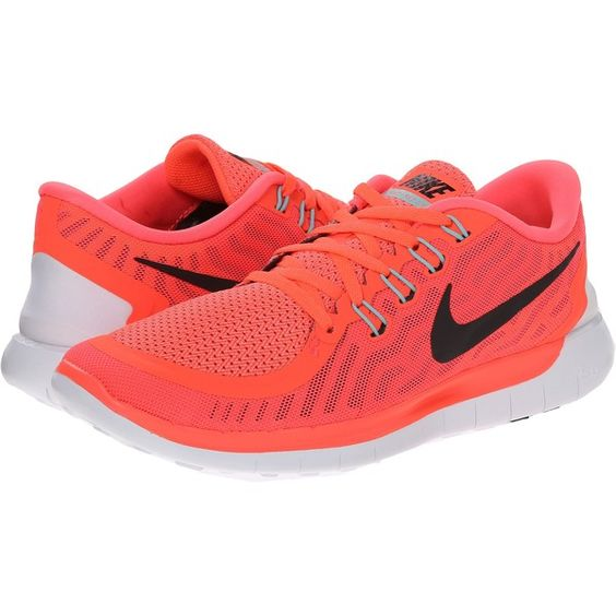 Nike Free 5.0 Women's Running Shoes, Orange ($75) ❤ liked on Polyvore featuring shoes, athletic shoes, orange, running shoes, waffle running shoes, pointed shoes, nike footwear and lightweight shoes