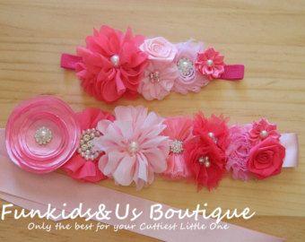 Pink Flower Sash Maternity Photo Prop by FunkidsandUsBoutique