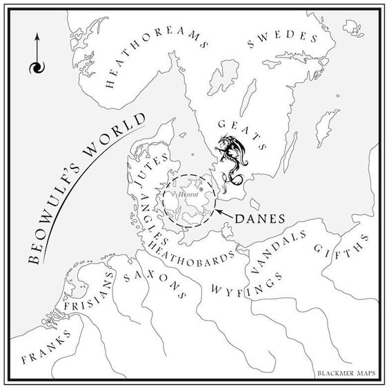Map of Scandinavia according to old English poem 'Beowulf'