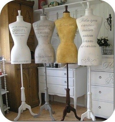 chanel stenciled vintage dress forms