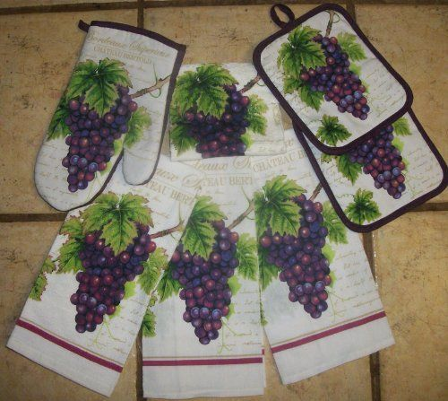 7 piece grape clusters kitchen towel set by mainstay 19 for Wine and grape themed kitchen ideas