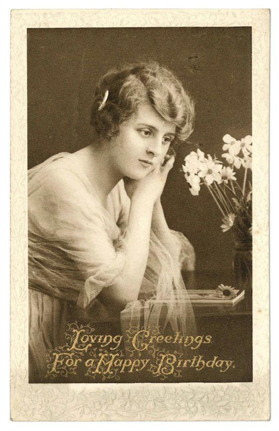 Birthday card 1910s Clifton Bromogravure postcard by GeraniumBlue