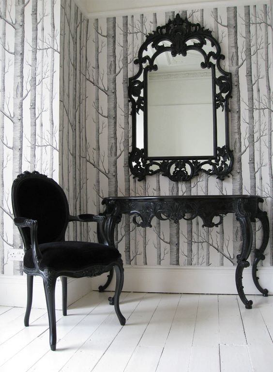 The French Bedroom Company Blog - Perfect Pairs: Get The Look, Console Tables and Mirror combinations to make you swoon. Console styling for your interiors and home. Monochrome, black and white dressing table, console with black gothic mirror and french armchair. louis furniture
