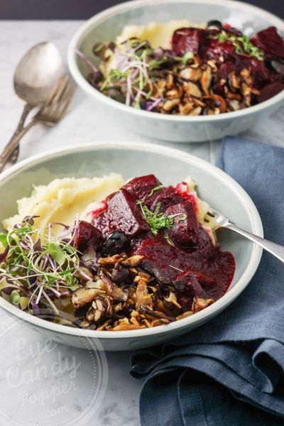Vegan beet stew in wine sauce and celery root purée (naturally gluten-free):