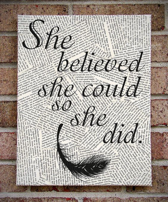 """Quote Wall Art: """"She Believed She Could So She Did"""" Canvas Art / Prints on Canvas. $37.00, via Etsy."""