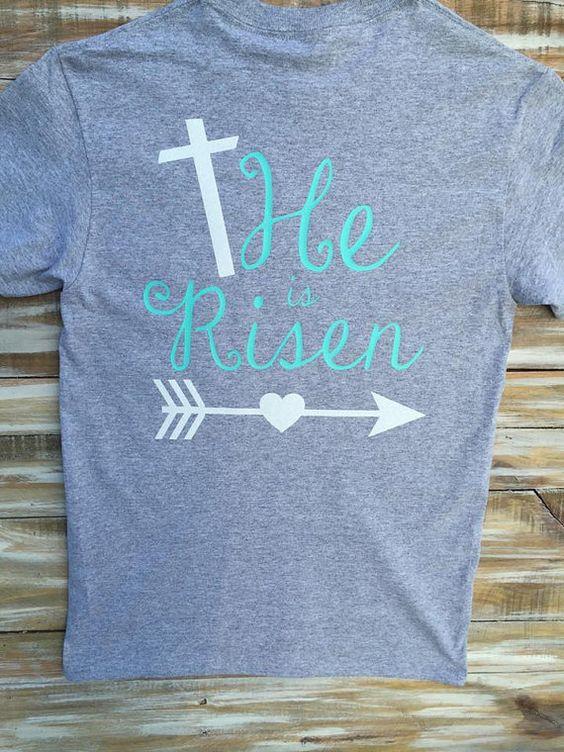 he is risen religious easter glitter custom monogram shirt