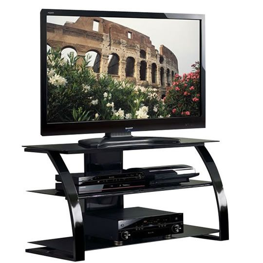 Toponi Curved Metal and Glass TV Stand for TVs up to 46 inches
