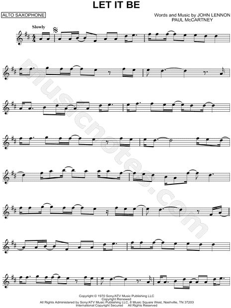 Let It Be Sheet Music By The Beatles Music Pinterest