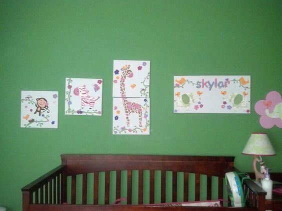 Jungle theme nursery artwork
