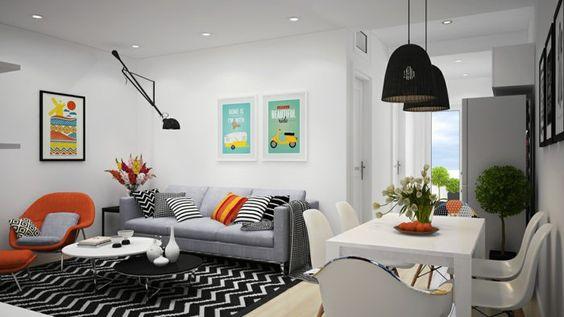 skandinavische teppiche schwarz weiß muster zig zag wohnzimmer - wohnzimmer schwarz weis orange